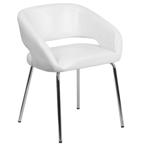 Contemporary White Leather Side Reception Chair