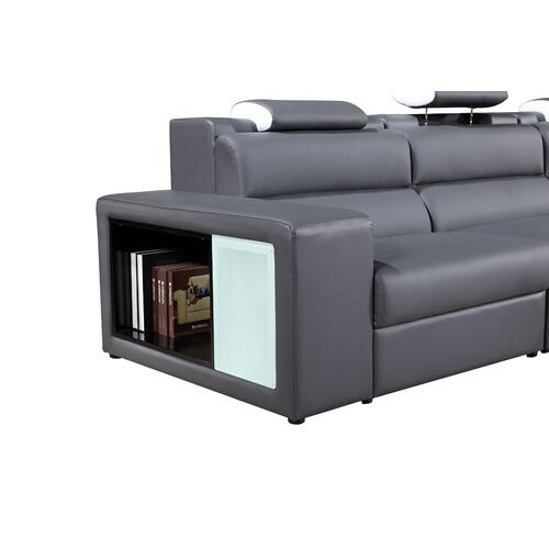 VIG Furniture - Divani Casa Polaris Mini - Contemporary Grey Bonded Leather Right Facing Sectional Sofa