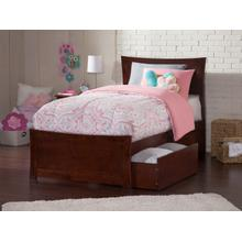 Metro Twin Bed with Matching Foot Board with 2 Urban Bed Drawers in Walnut