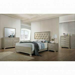 ACME Carine Queen Bed - 26240Q - PU & Champagne
