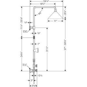 Chrome Showerpipe 240 2-Jet, 2.5 GPM