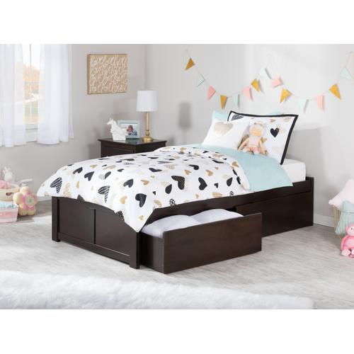 Concord Twin Flat Panel Foot Board with 2 Urban Bed Drawers Espresso