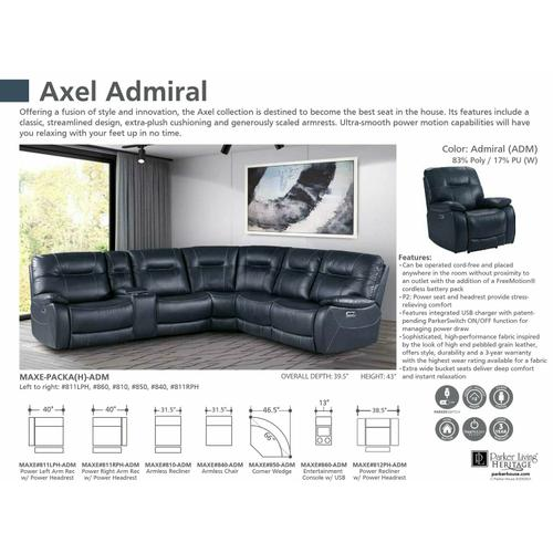 Parker House - AXEL - ADMIRAL Power Right Arm Facing Recliner