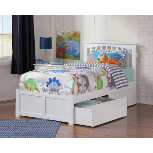 Atlantic Furniture - Mission Twin Flat Panel Foot Board with 2 Urban Bed Drawers White