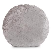 "18"" Round Pillow Amaron Cement Crushed Velvet"