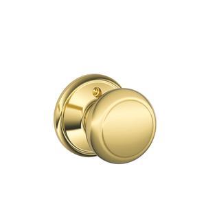 Andover Knob Non-turning Lock - Bright Brass Product Image