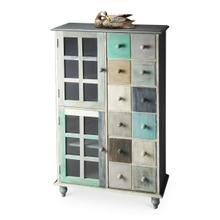 See Details - This stunning accent chest is handcrafted from mango hardwood solids and wood products and hand finished in a whimsical profusion of pastels. It features abundant storage with two top drawers and compartments behind four doors on the bottom right and left sides.