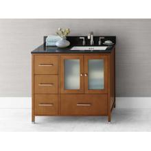 "View Product - Juno 36"" Bathroom Vanity Cabinet Base in Cinnamon - Doors on Right"