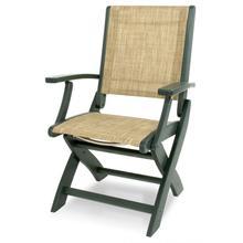 Green & Burlap Coastal Folding Chair