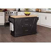 Brigham Kitchen Island In Black With Natural Wood Top Product Image