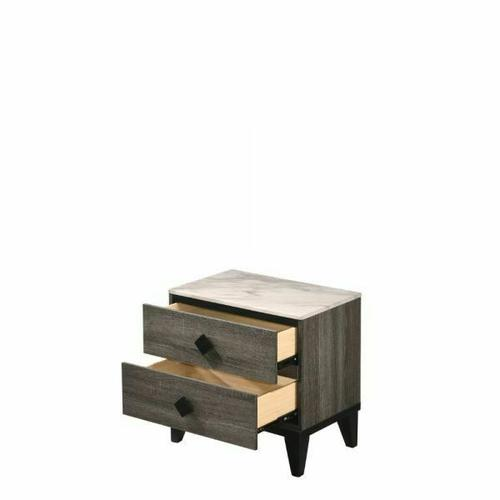ACME Avantika Nightstand - 27673 - Transitional - Veneer (Foil), MDF, PB - Faux Marble and Rustic Gray Oak