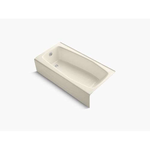 "Almond 60"" X 30"" Alcove Bath With Integral Apron and Left-hand Drain"