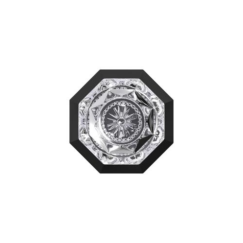 Custom Alexandria Glass Knob with Rosewood Trim Hall-Closet and Bed-Bath Lock - Matte Black