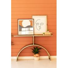 See Details - antique brass console table with arched base