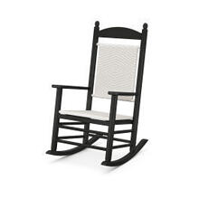 View Product - Jefferson Woven Rocking Chair in Black Frame / White Loom