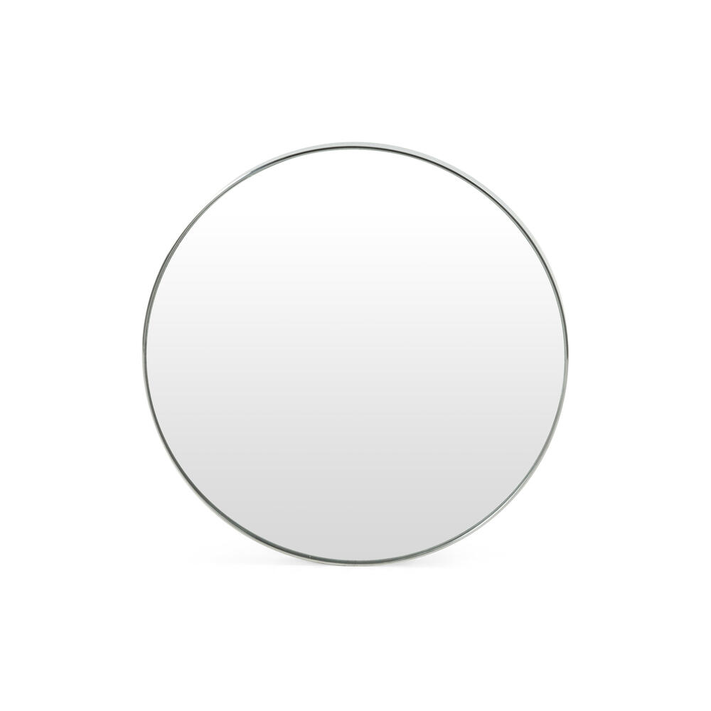 Small Size Shiny Steel Finish Bellvue Round Mirror
