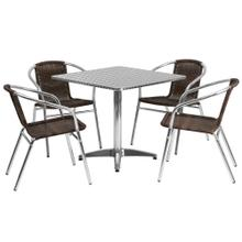 31.5'' Square Aluminum Indoor-Outdoor Table Set with 4 Dark Brown Rattan Chairs
