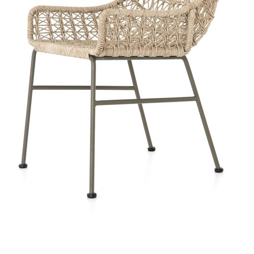 Vintage White Finish Bandera Outdoor Woven Dining Chair
