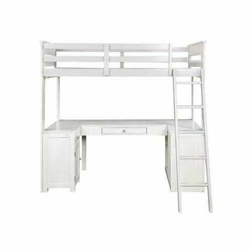 ACME Ambar Loft Bed w/Chest, Desk & Bookcase - 38065 - Cottage - Wood (Pine), MDF - Light Gray