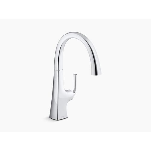 Polished Chrome Bar Sink Faucet With Swing Spout