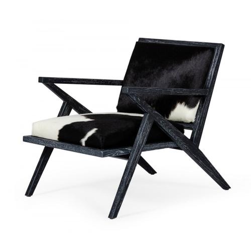 Gallery - Modrest Hallam - Glam Black and White Cowhide Accent Chair