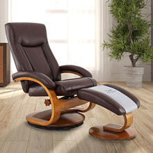Hamar Recliner & Ottoman in Whisky Air Leather