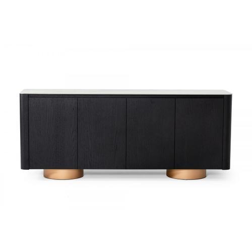 VIG Furniture - Modrest Peak - Modern White Ceramic/Black Oak/Rosegold Buffet