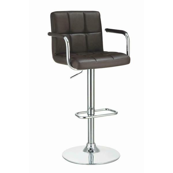 See Details - Contemporary Brown Faux Leather and Chrome Adjustable Bar Stool With Arms