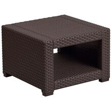Chocolate Brown Faux Rattan End Table