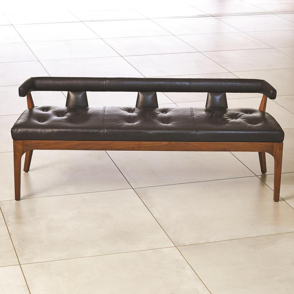 See Details - Moderno Bench-Black Marble Leather