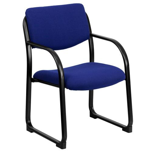 Alamont Furniture - Navy Fabric Executive Side Reception Chair with Sled Base