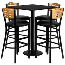 See Details - 30'' Square Black Laminate Table Set with 4 Wood Slat Back Metal Barstools - Black Vinyl Seat