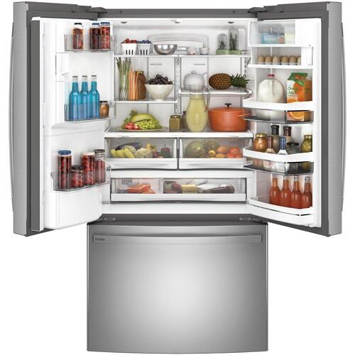 GE Profile™ Series ENERGY STAR® 22.1 Cu. Ft. Smart Counter-Depth Fingerprint Resistant French-Door Refrigerator with Keurig® K-Cup® Brewing System