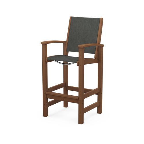 Polywood Furnishings - Coastal Bar Chair in Teak / Ember Sling