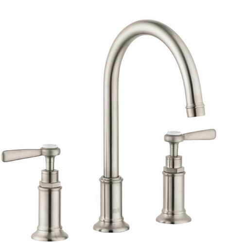 Brushed Nickel Widespread Faucet 180 with Lever Handles and Pop-Up Drain, 1.2 GPM