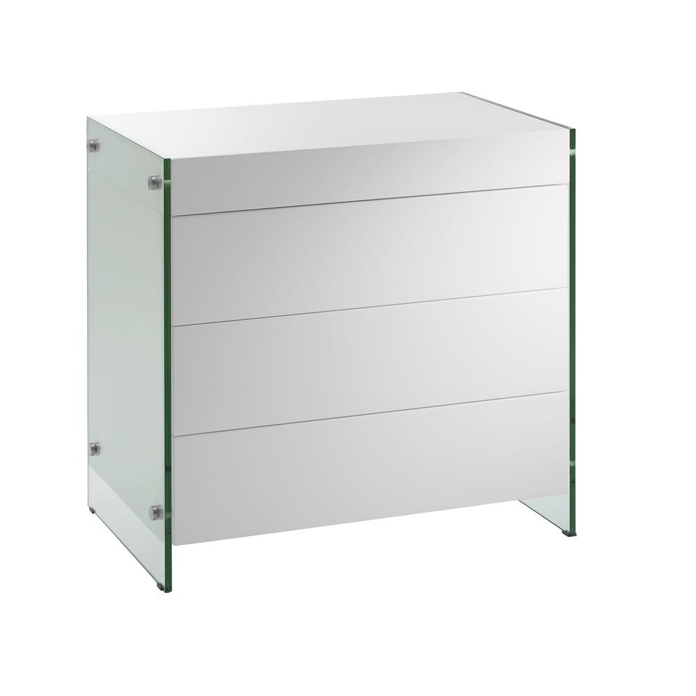 The Il Vetro Dresser In High Gloss White Lacquer With Glass