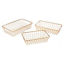 Set Of 3 Grid Baskets Gold
