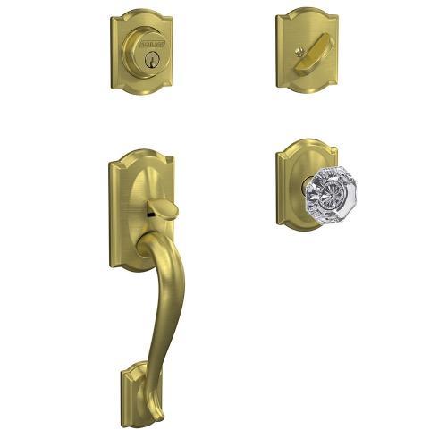 Custom Camelot Single Cylinder Handleset and Interior Alexandria Glass Knob with Camelot Trim - Satin Brass