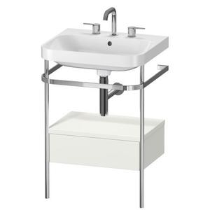 Furniture Washbasin C-shaped With Metal Console Floorstanding, Nordic White Satin Matte (lacquer)