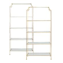 The Modern Asian Detailing On Our Chloe Etagere Is A Study In Refined Design. A Beautiful, Hand Finished Gold Leaf Frame Pairs Elegantly With Crystal Clear Glass Shelves In This Bright and Open Display Unit.