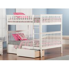 Woodland Bunk Bed Full over Full with Urban Bed Drawers in White