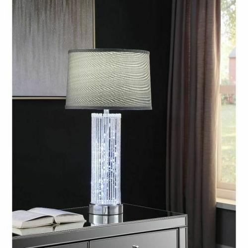 ACME Glaus Table Lamp - 40357 - Glam - LED Light, Metal, Shade (Fabric) - Chrome