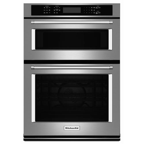 """KitchenAid - 27"""" Combination Wall Oven with Even-Heat™ True Convection (lower oven) - Stainless Steel"""