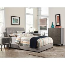 View Product - Lusso Full Bed Set - Gray Faux Leather