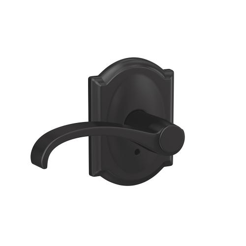 Custom Whitney Lever with Camelot Trim Hall-Closet and Bed-Bath Lock - Matte Black