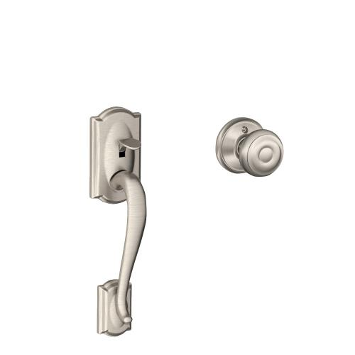 Schlage - Camelot Front Entry Handle and Georgian Knob - Bright Chrome