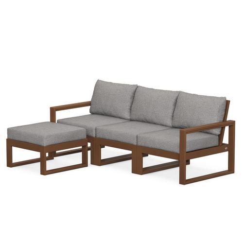 Polywood Furnishings - EDGE 4-Piece Modular Deep Seating Set with Ottoman in Teak / Grey Mist
