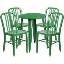 24'' Round Green Metal Indoor-Outdoor Table Set with 4 Vertical Slat Back Chairs