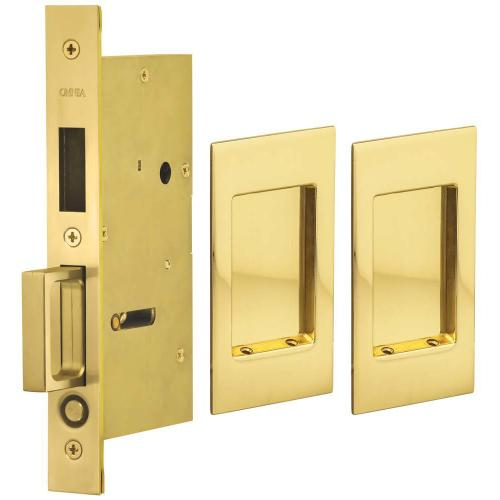 Pair Dummy Pocket Door Lock with Modern Rectangular Trim featuring Mortise Edge Pull in (US3 Polished Brass, Lacquered)