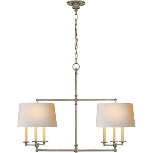 E. F. Chapman Classic 6 Light 42 inch Antique Nickel Linear Pendant Ceiling Light